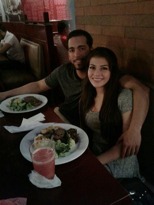 Mrs. Freeman & I enjoying some delicious food in Panama City